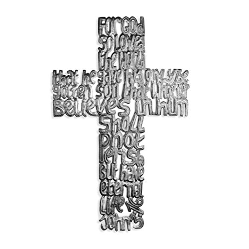 John 3:16 Promise Cross, Biblical Verse, Haitian Metal Art