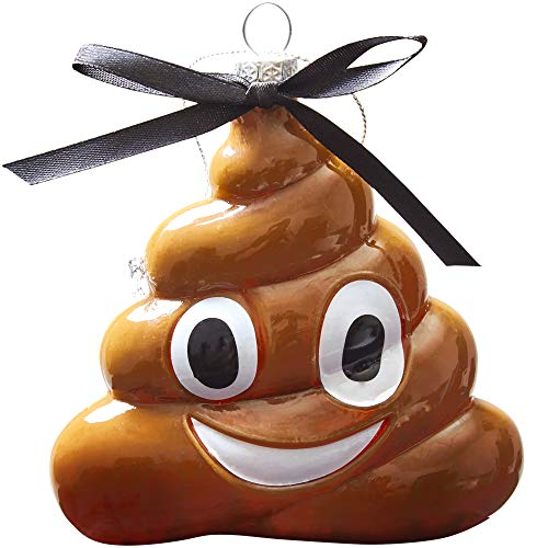 Super Cute, Extra Funny Poop Emoji Christmas Ornament. Glass Poo Swirl Emoticon is a Unique Xmas Tree Decoration. Hanging Holiday Turd is The Best Novelty Gift Idea for Adults, Teens, Boys and Girls (Tree Christmas Ideas Ornament)