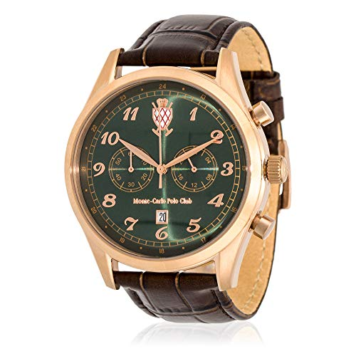 Leather Carlo Watch Monte (Monte-Carlo Polo Club Mens Classic Chronograph Watch with Green Dial and Brown Croco Leather Strap)