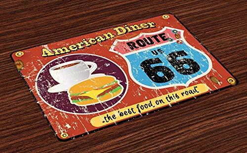 16' Street Broom - Route 66 Non-slip Doormats Welcome Mat Accent Area Rug, American Diner Old Fashioned Sign Main Street of America Journey Famous Adventure, Indoor Bathroom Mat Shoes Scraper Floor Cover Mat,16'' x 24''