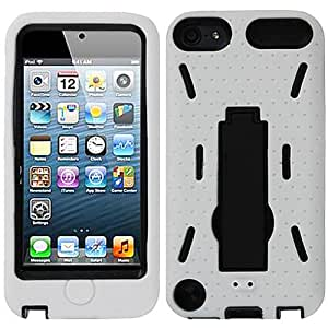 White Black HyBrid Rubber Soft Skin Kickstand Case Hard Cover For Apple iPod Touch iTouch 5, 6 with Free Pouch