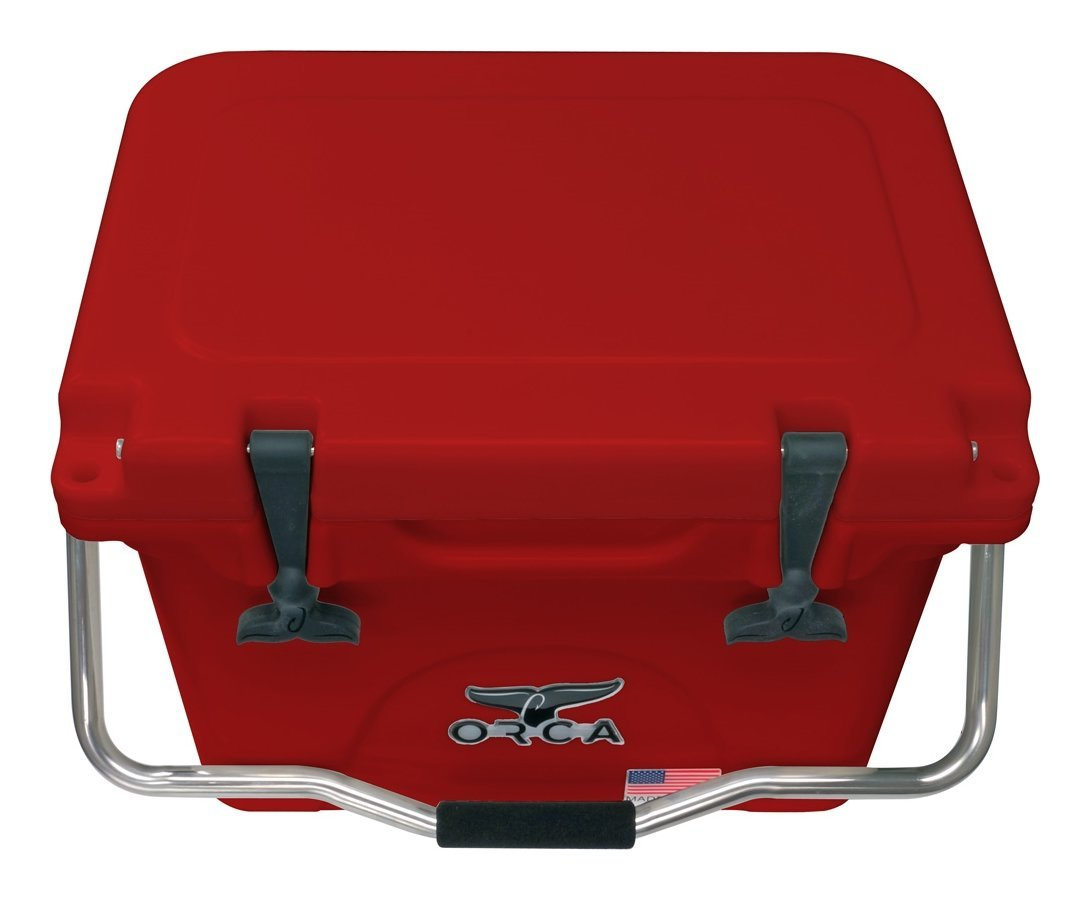 ORCA ORCRE/RE020 Cooler with Single Flex-Grip Stainless Steel Handle for Simple Solo Portage, 20 Quart, Red/Red