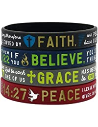 """Faith, Believe, Peace, Grace"" Silicone Bible Bracelets - Christian Religious Jewelry Gifts for Men Women"