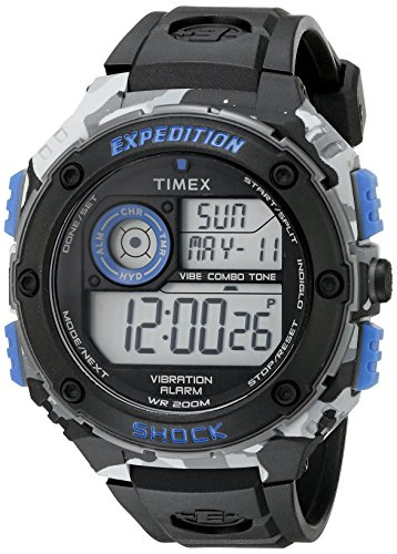 Timex Men's TW4B003009J Expedition Stainless Steel Digital Watch with Black Resin Band ()