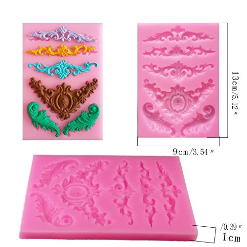 Vintage European Silicone Cake Border Decorating Tool, 4 Pcs Cupcake Topper Fondant Chocolate Polymer Clay Mold By Garloy