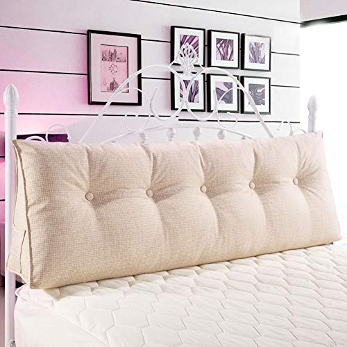WOWMAX Triangular Reading Pillow Large Bolster Headboard Backrest Positioning Support Wedge Pillow for Day Bed Bunk Bed with Removable Cover Ivory Linen Blend California King (Much Daybeds Are How)