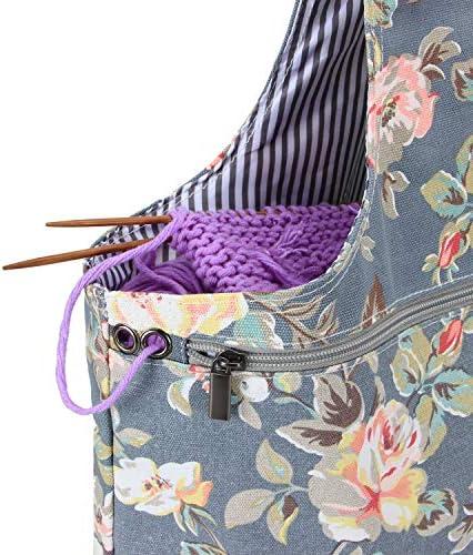 Teamoy Bolso de Ovillos Bolsa en Mano de Tejer Bolsos para Agujas Mochila de Crochet (Grande, Peonía): Amazon.es: Hogar