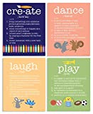 The Kids Room By Stupell 4 Piece Definitions Wall Plaque Set, Create/Dance/Laugh/Play, Proudly Made in USA