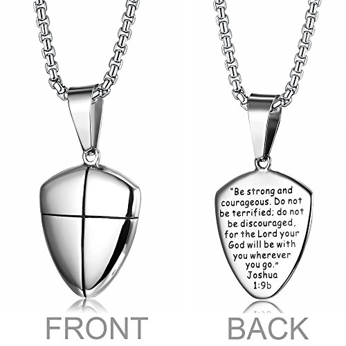 LOYALLOOK+Stainless+Steel+Shield+of+Faith+Engraved+Joshua+1%3A9b+Armor+of+God+Cross+Pendant+Necklace+for+Men