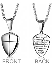 Stainless Steel Shield of Faith Engraved Joshua 1:9b...