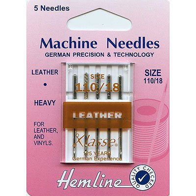 Hemline H104.110 | Hvy | Chisel Point Leather Sewing Machine Needles 5pk 110/18 Groves