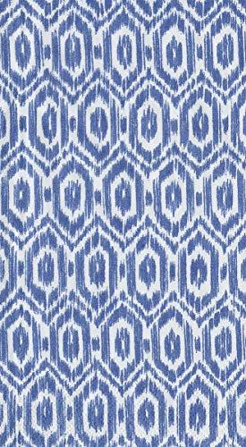 Caspari Disposable Hand Towels, Decorative Paper Guest Towels for Bathroom or Paper Napkins Dinner Napkins Size Amala Ikat Blue Pak 30 - Napkins Blue Guest