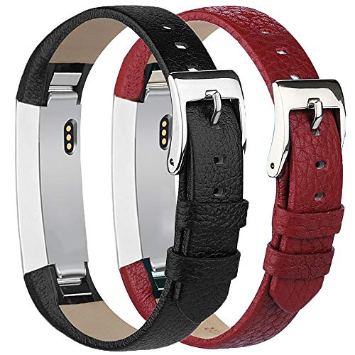 Tobfit Leather Bands Compatible with for Fitbit Alta Bands and Fitbit Alta HR Bands, 2 Pack, Black, Red (Fitbit Alta Best Price)