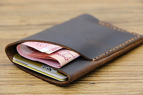 Slim Leather Card Wallet/ Handmade Money Clip/ Leather Cardholder Mens by TopCraftmanLeather