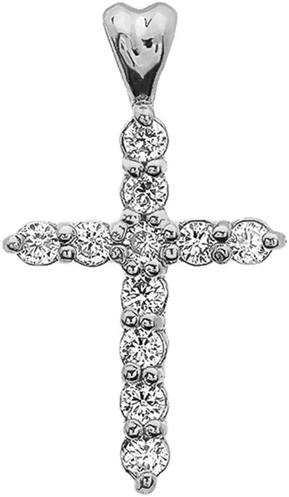 Ice on Fire Jewelry 10k White Gold Cubic Zirconia Cross Pendant