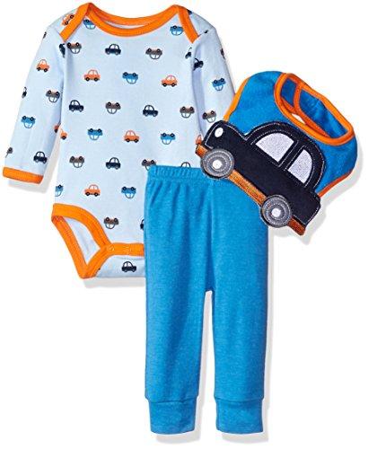 Bon Bebe 3 Piece Bodysuit, Pant and 3D Bib Set, Blue Cars, 3-6 Months