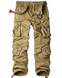 Toomett Men's Cotton Casual Military Army Cargo Camo Combat Work Pants 8 Pocket #6058,Khaki,US 38