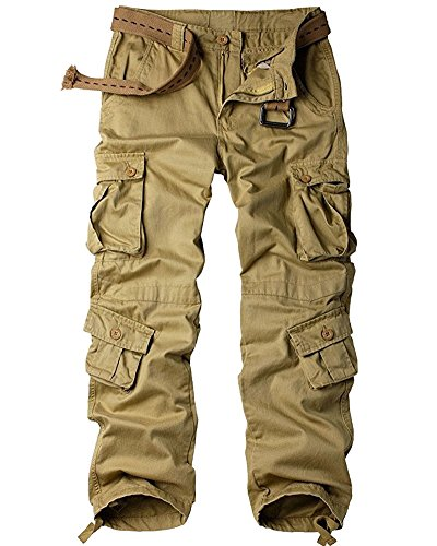 Men's Cotton Casual Military Army Cargo Camo Combat Work Pants with 8 Pocket #6058,Khaki,US 44