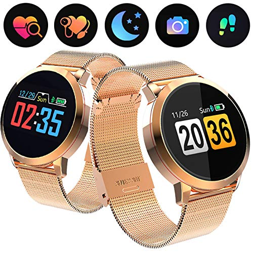 0.95 OLED Fitness Tracker Smart Watch for Women Men, Activity Tracker with Heart Rate Monitor Blood Pressure Sleep Monitor, Pedometer GPS Tracker for iPhone Android Phones (Ultra-Long Battery Life)