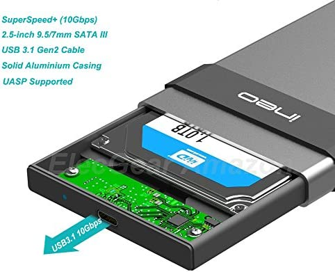 USB 3.1 Gen2 Type C Carcasa para Disco Duro Externo de 2.5 - ElecGear aluminio Caja con SuperSpeed+ (10Gbps) SATA HDD y SSD, Hard Disk Drive ...