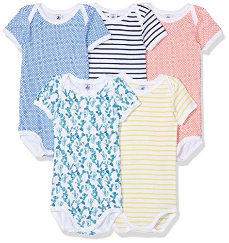 Petit Bateau Baby Boys Short Sleeves Bodysuits 5 Pack Sizes 3-36 Months Style 27625 (Size 36/M Style 27625 Boys Bodysuits)