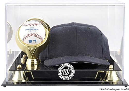 Washington Nationals Acrylic Cap and Baseball Logo Display Case - Mlb Baseball Cap Display Case