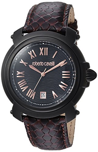 Roberto Cavalli by Franck Muller Men's Stainless Steel Swiss-Quartz Watch with Leather Calfskin Strap, Brown, 21 (Model: RV1G005L0046)