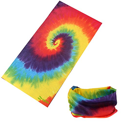 Headbands, Zupoo(TM) Flowers& Plants Series 16-in-1 Multifunctional Headband Sports Magic Scarf,Collars Muffler Scarf Face Mask,Rainbow Tie Dye