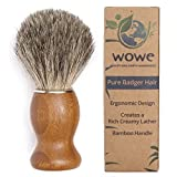 100% Pure Badger Hair Shaving Brush with Natural Bamboo Handle - Experience a Better Shave - Great For Any Method of Shaving - Eco Friendly Male Grooming - WowE LifeStyle Products
