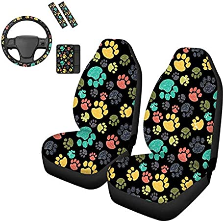 Car Center Console Armrest Cushion Seat Belt Pads Elastic Car Steering Wheel Cover Ethnic Style Tribe POLERO Car Accessories 6 Packs Front Car Seat Cover