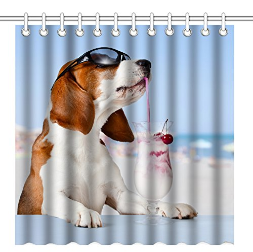 Wknoon 72 x 72 Inch Shower Curtain,Funny Humor Basset Hound Dog with Glasses Drinking,Waterproof Polyester Fabric Decorative Bathroom Bath Curtains