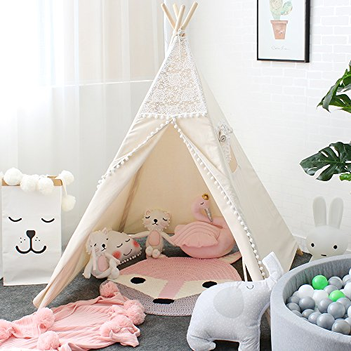 Lebze Teepee Tent for Kids, Lace Teepee for Girls Canvas Children Play Tent for Indoor Outdoor Christmas Decor with Carry Case -