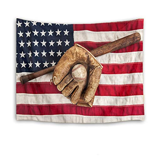 Baby Sports Wall Hanging - HVEST Sport Tapestry Baseball Glove and Bat Wall Hanging American Flag Wall Tapestry for Bedroom Living Room Dorm Party Wall Decor,60Wx40H inches