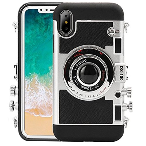 iPhone X Case, Guojia 3D Cute Camera Design Case, Cool Silicone Phone Protector, Cover with Long Strap Rope for Girls Women and Camera Enthusiast (Moderate Hardness) (Black)