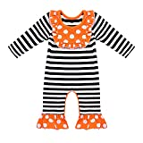 iEFiEL Infant Baby Girls' Cotton Long Sleeves Ruffles Leg One-Pieces Romper Bodysuit Jumpsuit Stripe&Polka Dots 3-6 Months