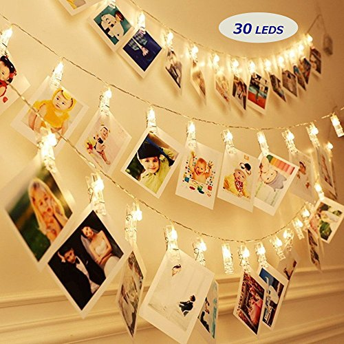 Aifulo Battery Operated Photo Clips Peg String Lights, 30 LED Clips on 10Ft Copper Wire Fairy Lights, for Home Wall Christmas Indoor Outdoor Decorations, Hanging Photos Pictures Cards, Warm White (Lights Operated Battery Net)