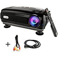 Video Projector, Sourcingbay Newest BY58 2500 Lumens LED Projectors Home Cinema Theater with HDMI 2 / VGA / AV/ USB 2 / TV / Y.Pb.Pr for Game Movie TV Laptop Support 1080P HD + Free HDMI, Black