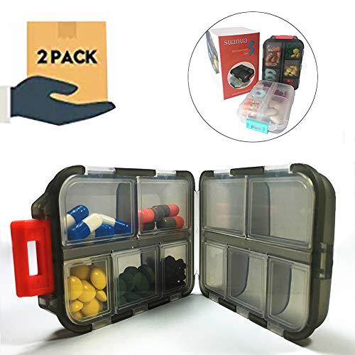 - Pill Organizer 10 Compartments Travel Portable, Pill Case for Purse, Pill Box for Vitamin 2Pcs (Black+White)