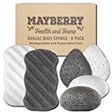 Konjac Body Sponge (6 Pack) Individually Wrapped Multi-Pack Pure (White) and Bamboo Charcoal (Black) Konjac Sponges Offer a Gentle Cleansing Experience for Softer Skin