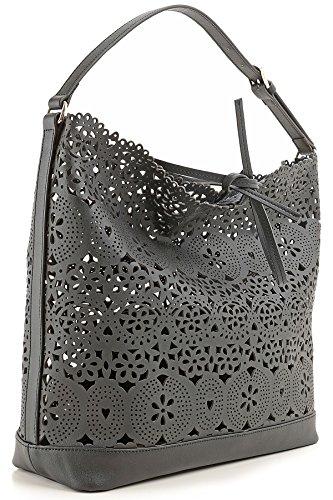 TWIN SET FIRMATO SOTTOCOSTO mod. A7S4SB borsa donna a spalla modello SHOPPING in vera PELLE LASERATA colore magnolia o nero 33x43x13cm