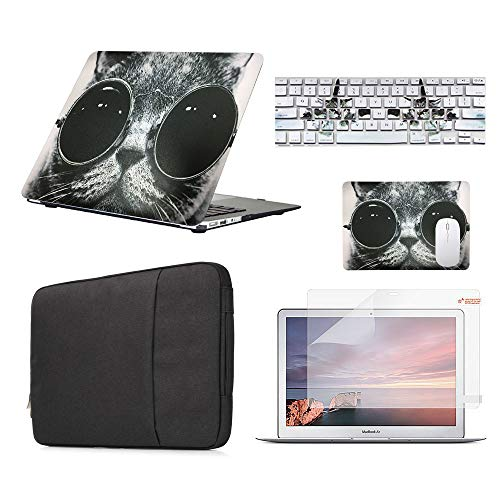 Funut 5 in 1 Bundle Deal Rubber Coated Glossy Plastic Hard Case Shell, Keyboard Cover, Screen Protector, Mouse Pad and Sleeve Bag for Apple MacBook Air 13 A1369 A1466, Chic Cat in Sunglasses (Chic Cat)