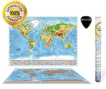 Amazoncom Deluxe Large Scratch Off World Educational Map Poster