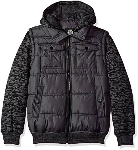 (English Laundry Big Boys' Outerwear Jacket (More Styles Available), Quilted Bomber-E267-Charcoal, 14/16)