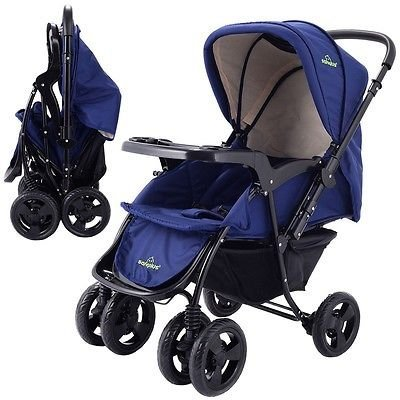 Two Way Foldable Baby Kids Travel Stroller Newborn Infant Pushchair Buggy Navy