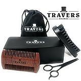 Travers Brands Beard Grooming Kit for Men, Beard & Mustache Growth Grooming & Trimming Gift Set, Black Boar Bristle Beard Brush, Red Sandalwood Beard Comb, Black Trimming Scissors for Styling