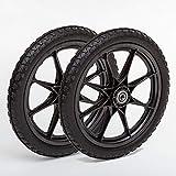 Lapp Wheels Set of Two 20x1.95 Flat Free Plastic Spoke Wheel, Lawnmower, Garden cart, Pony Wagon Replacement Wheels, 5/8' or 3/4' Bearing Size