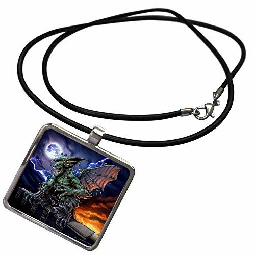 3dRose dark, Gargoyle, Illustration - Gargoyle sitting on a pedestal lighting and the moon - Necklace With Rectangle Pendant (Gargoyle Lighting)