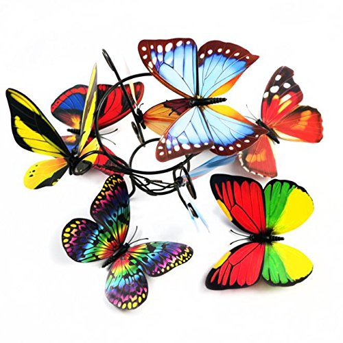 Wall Art - 10pcs 3d Double Pieces Colorful Butterfly Wall Sticker Fridge Home Decor Art Applique