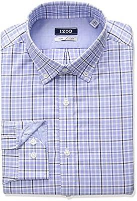 IZOD Men's Slim Fit Plaid Buttondown Collar Dress Shirt