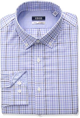 Plaid Dress Shirt - IZOD Men's Slim Fit Plaid Buttondown Collar Dress Shirt, Bluejay, 16